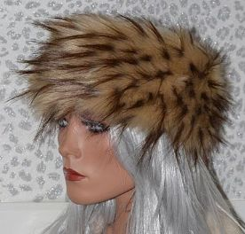 Handmade Beige Thick Fur Headband with Spikey Brown Tips